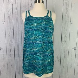Patagonia | green blue strappy fitted tank top